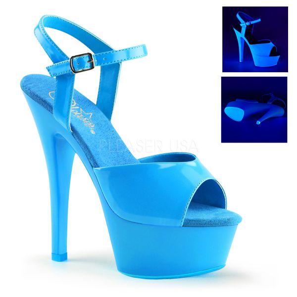 KISS-209UV neon blau   Plateau-Sandalette neon-blau